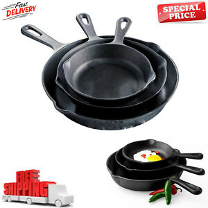 Pre-seasoned-Cast-Iron-3-Piece-Skillet-Set-Stove-Oven-Fry-Pans-Pots-Cookware-Pan