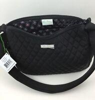 Vera Bradley On The Go Classic Black Purse Microfiber Handbag Hobo Crossbody
