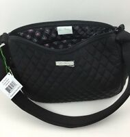 Vera Bradley On The Go Classic Black Purse Microfiber Handbag Hobo Crossbody