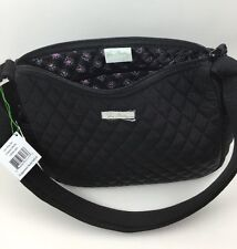 Vera Bradley ON THE GO CLASSIC BLACK Purse Microfiber Handbag Hobo Crossbody NWT