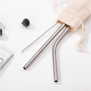 3pc Premium Stainless Steel Metal Silver Reusable Straw Brush /& Eco Pouch Set