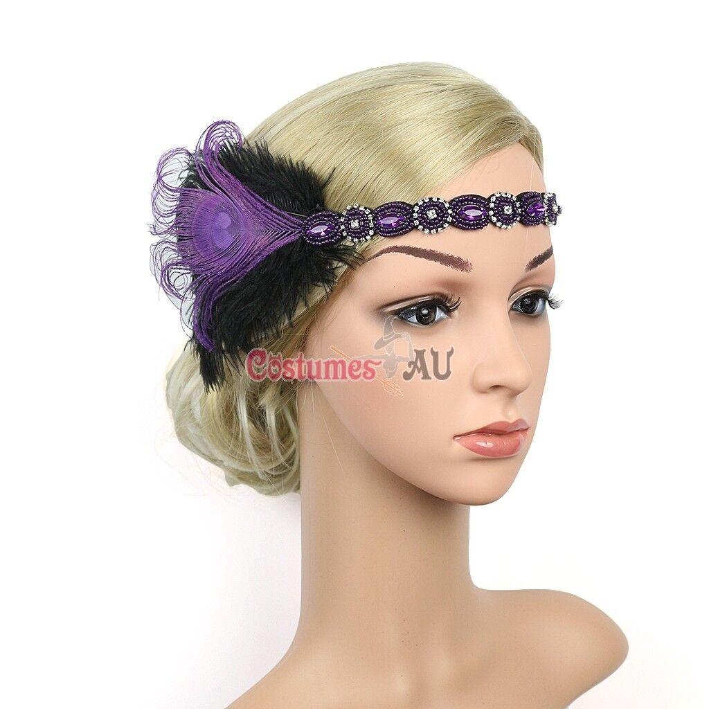 1920s Headband Feather Purple Bridal Great Gatsby 20s Flapper Headpiece Gangster