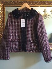ZARA Red Black Fantasy Boucle Tweed Blazer Jacket Lace Collar Size XL UK 14 BNWT