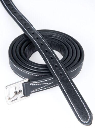 Leder Steigbügelriemen mit Nylon verstärkt HKM schwarz 125-165 NEU