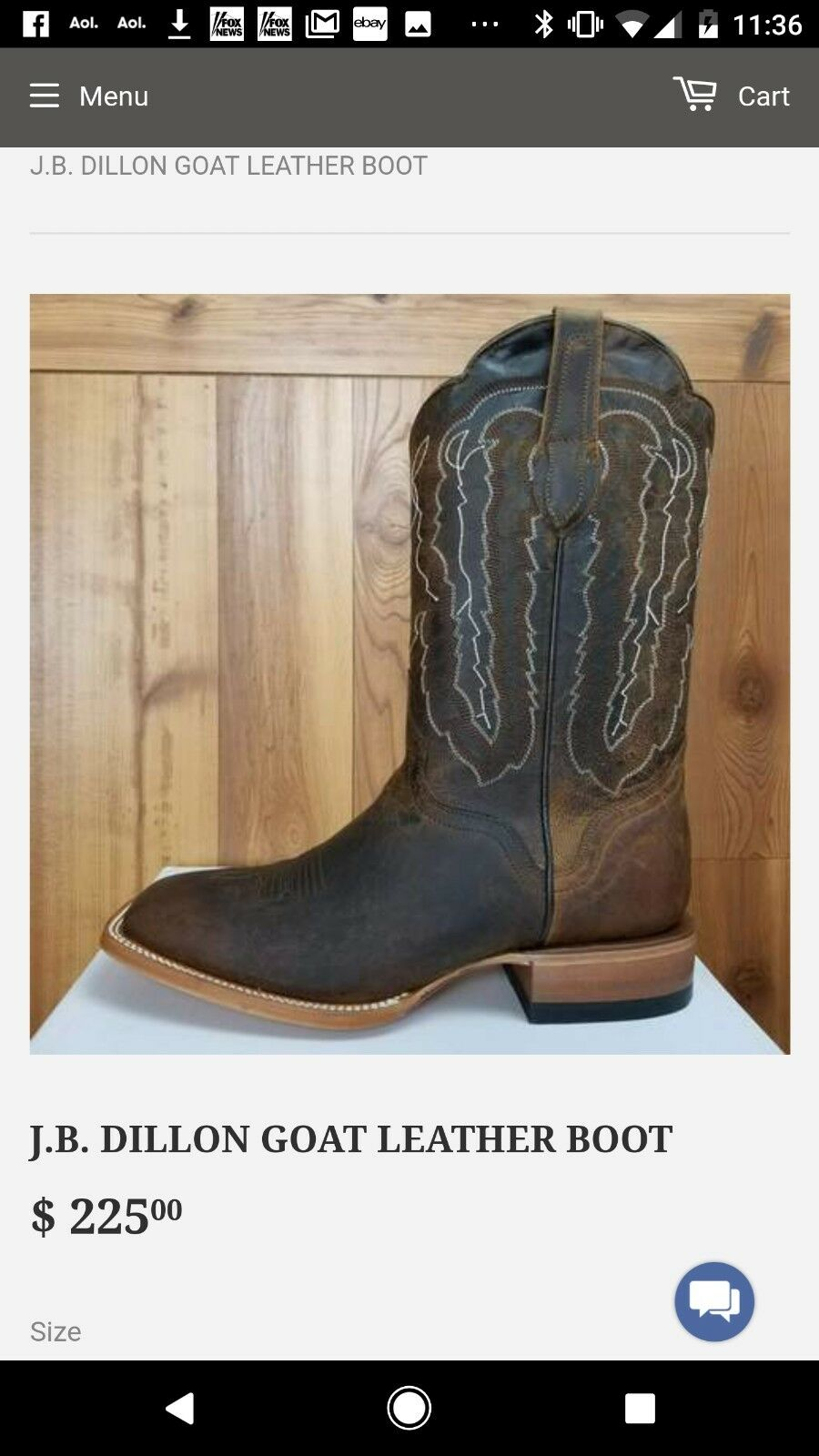 MENS NEW GOATSKIN J.B. DILLION BOOTS 10.5EE