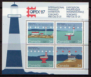 Mnh Lighthouses Convenience Goods Architecture Canada 1987 Capex '87 Miniature Sheet Unmounted Mint