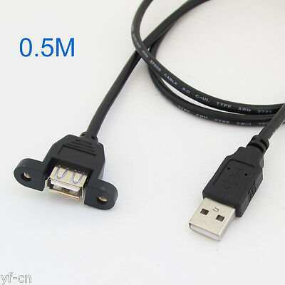 10 USB 2.0 A Male To USB Female Panel Mount Adapter Extend Cable Screw Lock 50cm