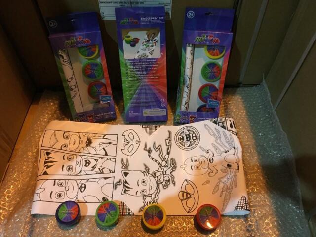 NEW JOB LOT 6 X Licensed PJ Masks Creative Finger Paints Pack of 4 +Paper Roll