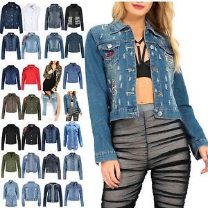 Womens-Ladies-Pockets-Slim-Denim-Jean-Buttons-Down-Coat-Crop-Jacket-Top-Outwear
