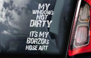 Borzoi-On-Board-Auto-Finestrino-Adesivo-Russo-Wolfhound-Cane-Firmare-V02