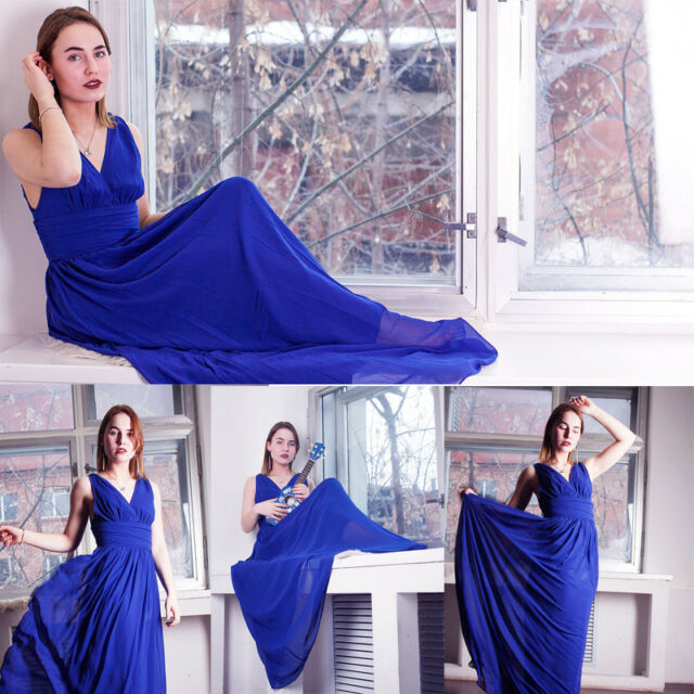 ffbe109432 Ever Pretty Bridesmaid Dresses Long Sapphire Blue V-neck Evening Prom Gown  09016