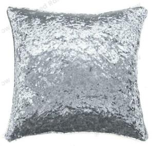 Grey-Silver-Plain-Crushed-Velvet-18-Inch-Super-Soft-Cushion-Cover-Piped-Edges