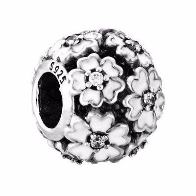 EX736 Flower European silver charm pendant bead Fit 925 Bracelet/Necklace chain