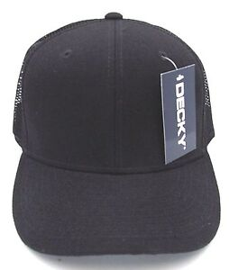 Trucker Style Snapback Cap Hat Plain Black Air Mesh Caps Hats Curved