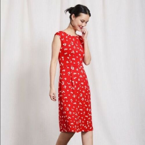 Boden Womens Red Marina Jersey Dress US 12L Red Iv