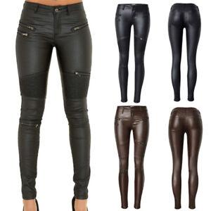 fb5859a99c9 Details about Womens Zipper Biker Leather Look Wet Stretch Skinny Slim  Leggings Trouser Ladies