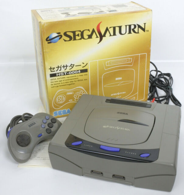 Sega Saturn GREY Console System Boxed HST-3210 Tested JAPAN 651047474