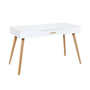 schreibtisch liva wei holz beine eiche modern sekret r arbeitstisch konsole ebay. Black Bedroom Furniture Sets. Home Design Ideas
