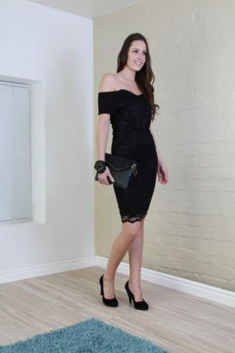 John Zack Black Dress  Bardot  Off shoulder  Pencil Bodycon Dress