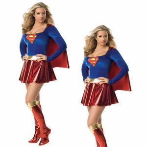 Details zu Lizenziert Damen Supergirl Kostüm Superman Kostüm Damen Erwachsene Outfit