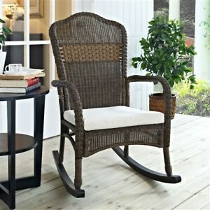 Details About Indoor Outdoor Patio Porch Mocha Wicker Rocking Chair With Beige Cushion