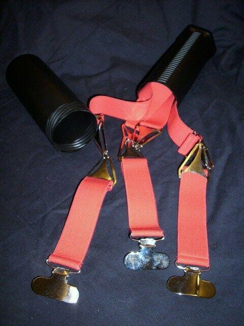Designer-Hosenträger, 3-Clip, Baumwolle, Farbe rot