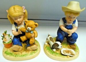 Home-Interior-Homco-Denim-Days-Figurines-Girl-W-Bear-amp-Boy-W-Dog-1504