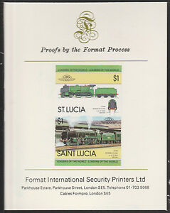St Lucia (2009) Locomotives #1 Schools Class imperf on Format Int PROOF CARD