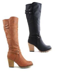 Suela-Agarre-para-mujer-taco-de-bloque-hasta-las-rodillas-Cremallera-Botas-Zapatos-Talla-nuevo