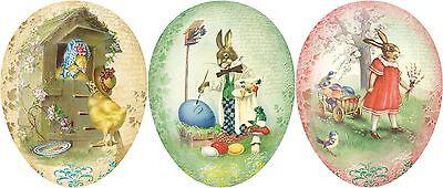 3 Pappeier Vintage Pappei Osterei Papp-Ei Ostern Geschenk Verpackung Fullei