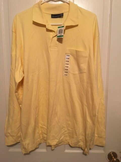0c63f85f5 JOHN ASHFORD SIZE LARGE LEMON SORBET LONG SLEEVED POLO SHIRT NWT ...