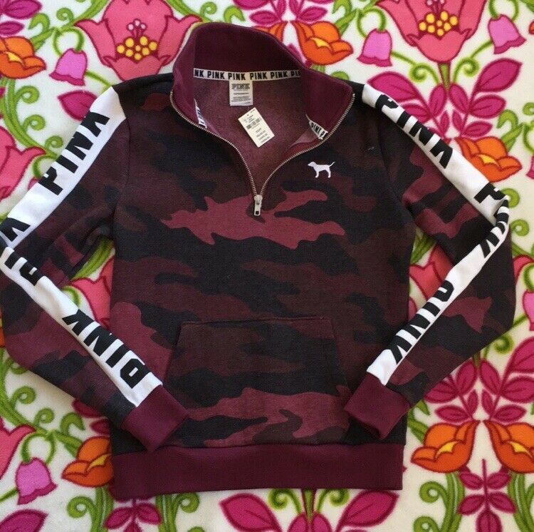 Victorias Secret Rose Ruby Camo 3 4 Zip Pull-over Sweat