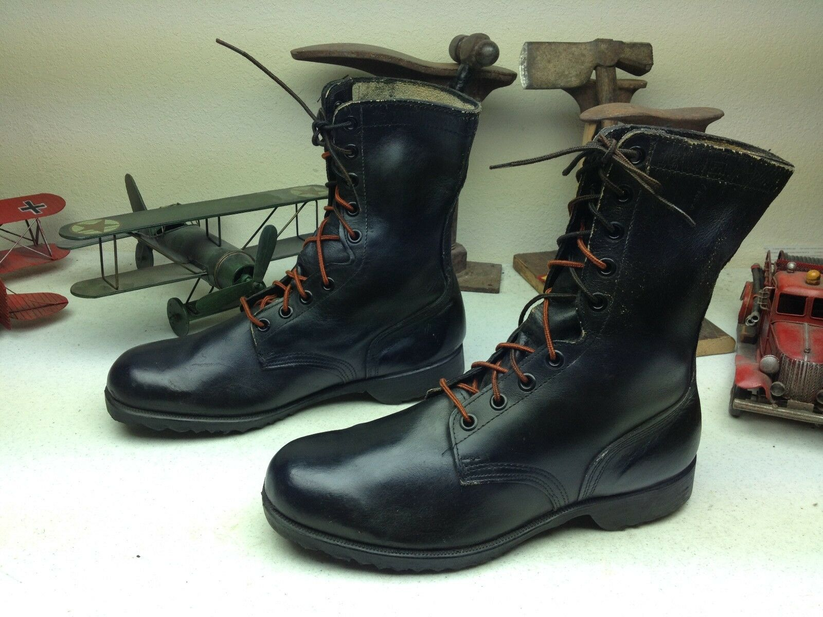 1984 USA VINTAGE pinkARCH BLACK LEATHER MILITARY ENGINEER BOSS BOOTS SIZE 12 XW