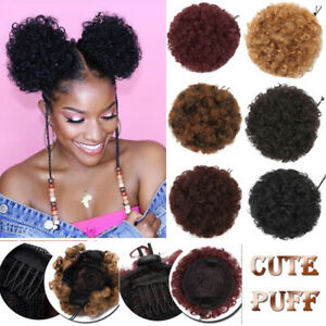 US-Afro-Bun-Ponytail-Kinky-Curly-Puff-Drawstring-as-human-Hair-Extensions-Updo-J