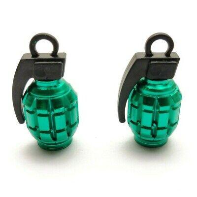 2x Green Grenade Quality Alloy Metal Valve Dust Caps Cars motorbikes BMX Bike