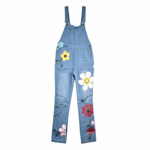 Womens Floral Bib Denim Overalls Jeans Dungarees Jumpsuit Pockets Trousers Pants