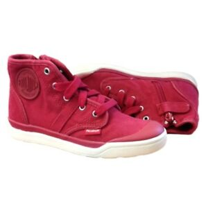 Palladium - Kids Pallarue Hi Zip CVS Boot Red Chevron Shoes Kids Junior 3 US