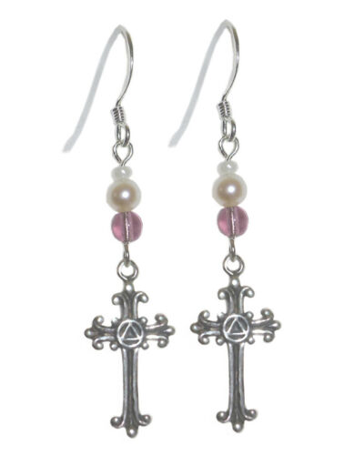 AA Alcoholics Anonymous Jewelry,Beaded Earrings,#1113 Med Sterling Silver Size