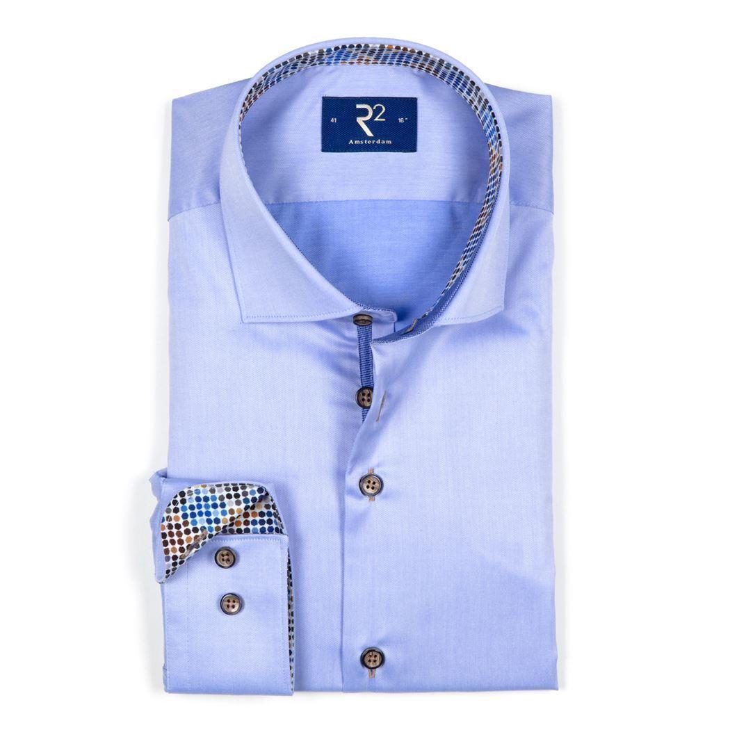 R2 Amsterdam Herren Geschäft Hemd blau Unifarben 102.HBD.40 018