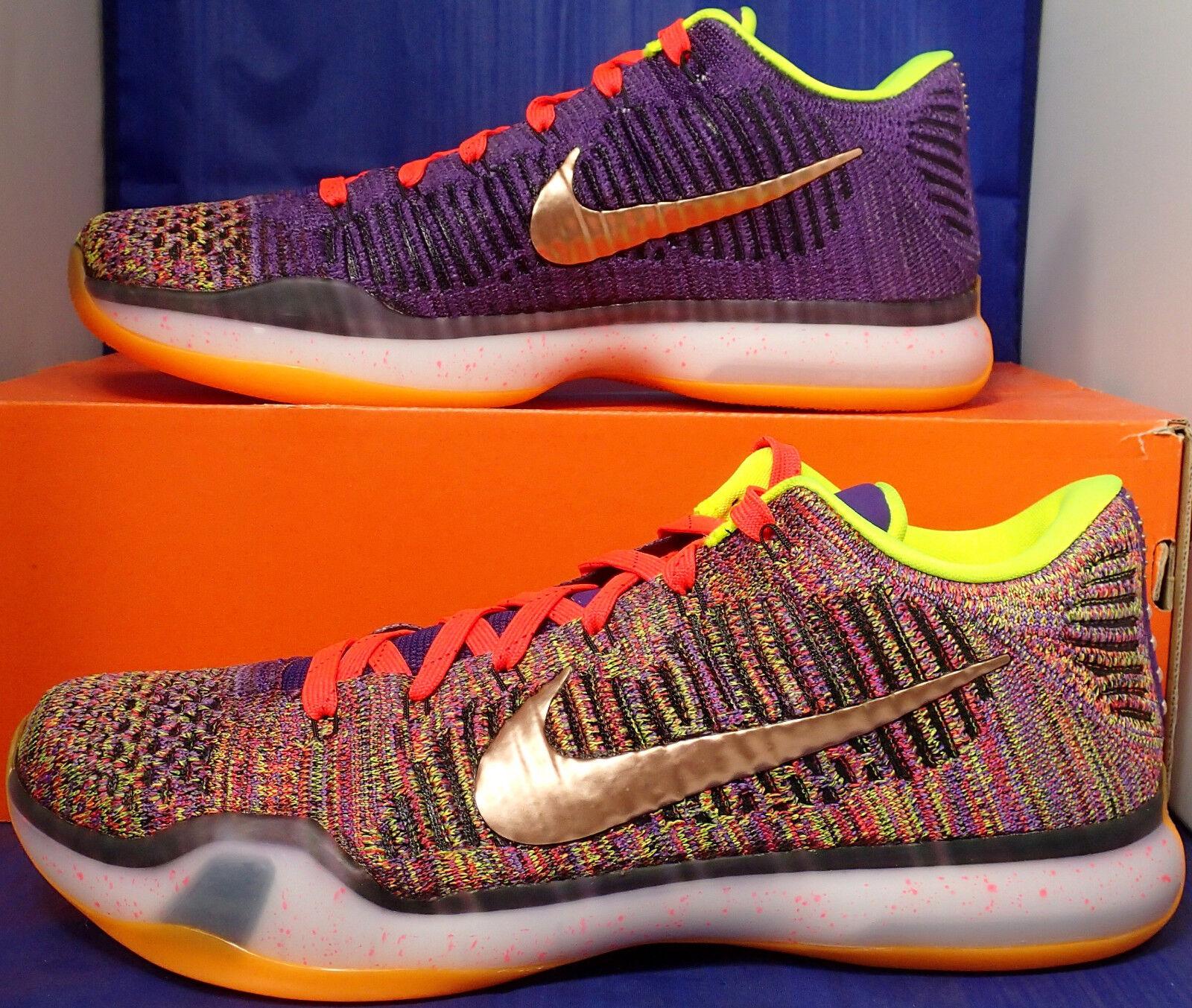 Nike Kobe X Elite Low Flyknit Multicolor 2.0 QS Purple iD SZ 10 ( 802817-903 )
