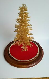 Westrim-Beaded-Mini-Christmas-Tree-GOLD-Ready-to-decorate-with-Base-amp-Skirt