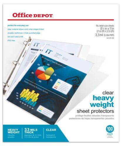 """8 1//2/"""" x 11/"""" Office Depot Brand Heavyweight Sheet Protectors 100-Pk Clear"""