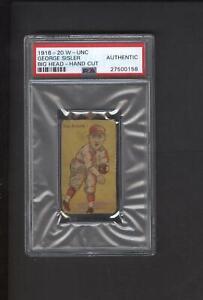 Details About 1916 Big Head Baseball Strip Card Psa Graded George Sisler Hof Tough