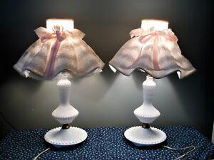 Milk Glass Hobnail Table Lamp Vintage Bedroom Lamp