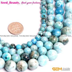 Natural-Stone-Blue-Hemimorphite-Gemstone-Jewelry-Making-Beads-Strand-15-034-Bulk