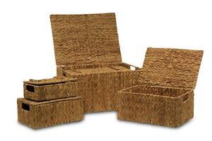 Baúl o caja de enea natural con asas para almacenaje y decoración del hogar