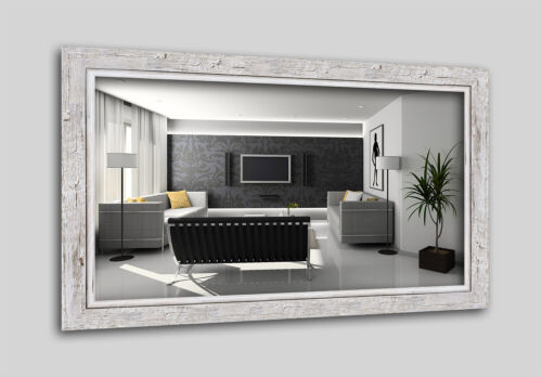 Ws-h660-001 miroir mural miroir schwemmholz-Optik shabby chic vintage blanc