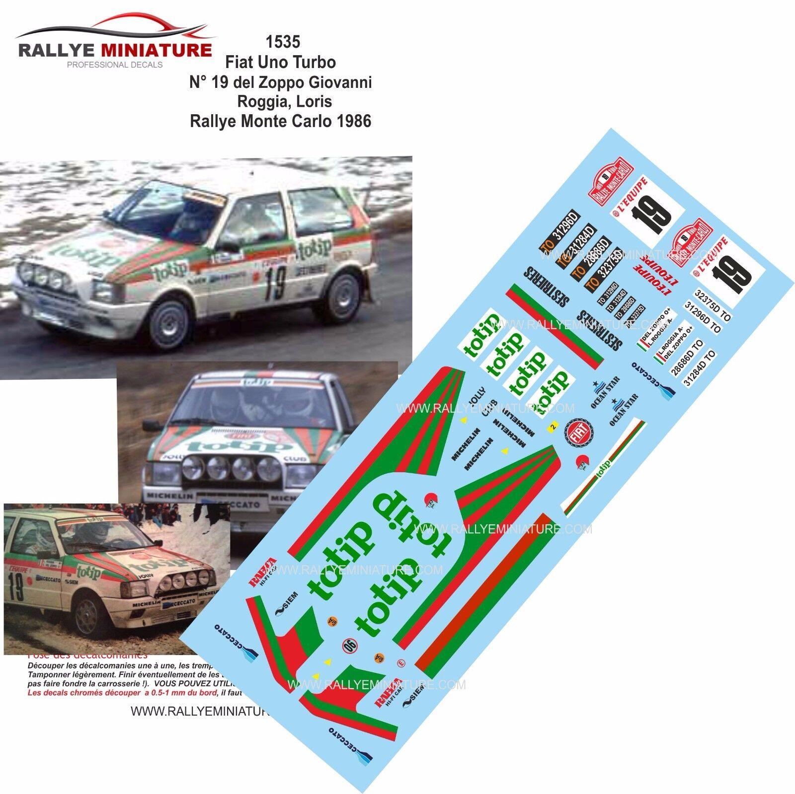 DECALS 1 43 REF 1535 FIAT UNO TURBO DEL ZOPPO RALLYE MONTE CARLO 1986 RALLY WRC
