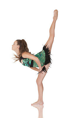 Instinct Jazz Contemporary Dance Costume, Green/Black with Feathers, Lots