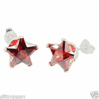 Sterling Silver STAR Earrings Garnet CZ January Birthstone Studs Red